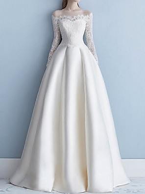 cheap Wedding Dresses-A-Line Off Shoulder Sweep / Brush Train Lace Long Sleeve Beach Illusion Sleeve Wedding Dresses with Lace Insert / Embroidery 2020