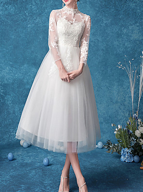 cheap Bridesmaid Dresses-A-Line High Neck Knee Length Tulle Bridesmaid Dress with Appliques