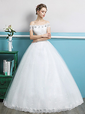 cheap Prom Dresses-Ball Gown Wedding Dresses Off Shoulder Floor Length Lace Tulle Polyester Sleeveless Romantic with Crystals 2020