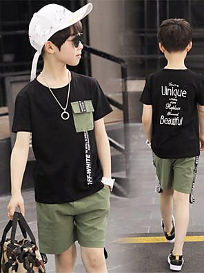 cheap Boys' Clothing Sets-Kids Boys' Basic Daily Wear Black Print Print Short Sleeve Regular Regular Clothing Set Black