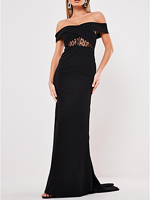 cheap Bridesmaid Dresses-Sheath / Column Elegant Black Engagement Formal Evening Dress Off Shoulder Short Sleeve Sweep / Brush Train Polyester with Ruched 2020