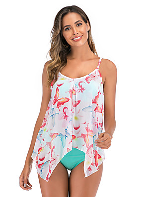 cheap Tankinis-Women's White Tankini Swimwear Swimsuit - Floral S M L White