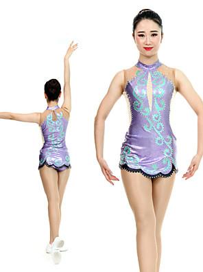 cheap Gymnastics-Rhythmic Gymnastics Leotards Artistic Gymnastics Leotards Women's Girls' Leotard Purple Spandex High Elasticity Handmade Jeweled Diamond Look Sleeveless Competition Dance Rhythmic Gymnastics Artistic