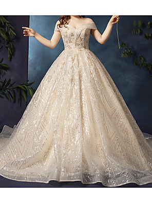 cheap Wedding Dresses-Ball Gown Wedding Dresses Off Shoulder Watteau Train Lace Tulle Cap Sleeve Formal Wedding Dress in Color Plus Size with Lace 2020