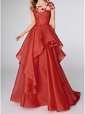 cheap Evening Dresses-Ball Gown Elegant Red Wedding Guest Prom Dress Illusion Neck Sleeveless Sweep / Brush Train Polyester with Tier Appliques 2020