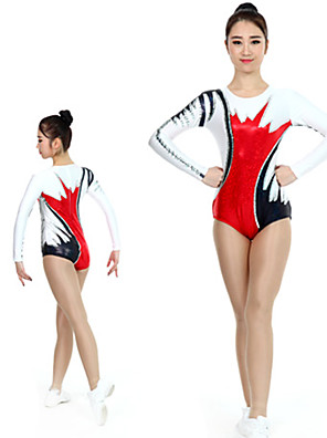 cheap Gymnastics-Rhythmic Gymnastics Leotards Artistic Gymnastics Leotards Women's Girls' Kids Leotard Spandex High Elasticity Handmade Long Sleeve Competition Dance Rhythmic Gymnastics Artistic Gymnastics Red