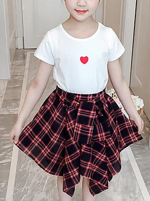 cheap Girls' Dresses-Kids Girls' Active Daily Wear Print Print Short Sleeve Regular Regular Clothing Set Black