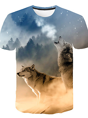 cheap Boys' Tops-Kids Boys' Basic Street chic Wolf Color Block 3D Animal Print Short Sleeve Tee Rainbow