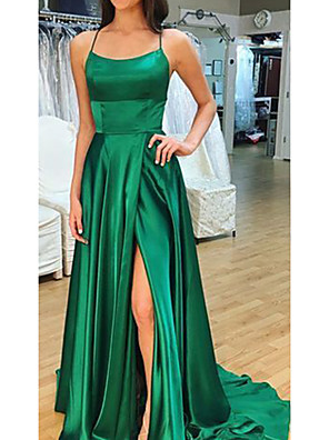 cheap Evening Dresses-A-Line Sexy Green Prom Formal Evening Dress Scoop Neck Sleeveless Court Train Satin with Split 2020