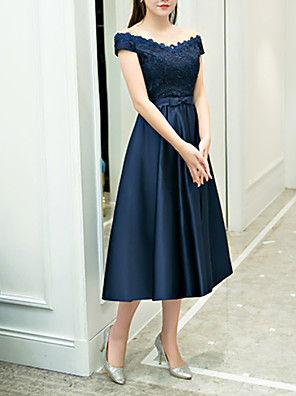 cheap Cocktail Dresses-Back To School A-Line Elegant Blue Homecoming Cocktail Party Dress Off Shoulder Sleeveless Tea Length Polyester with Appliques 2020 Hoco Dress