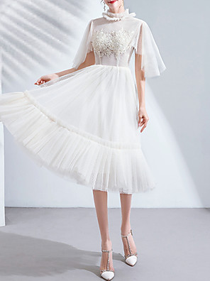 cheap Bridesmaid Dresses-A-Line High Neck Knee Length Tulle Bridesmaid Dress with Pleats