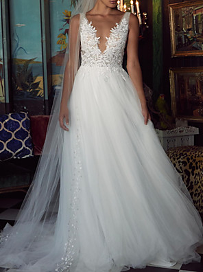 cheap Wedding Dresses-A-Line V Neck Sweep / Brush Train Polyester / Tulle Sleeveless Country Plus Size Wedding Dresses with Draping / Appliques 2020