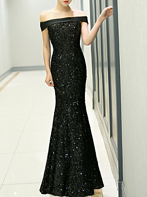 cheap Prom Dresses-Mermaid / Trumpet Sparkle Black Prom Formal Evening Dress Off Shoulder Short Sleeve Floor Length Polyester with Sequin 2020
