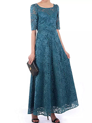 cheap Evening Dresses-A-Line Elegant Floral Wedding Guest Formal Evening Dress Scoop Neck Half Sleeve Floor Length Lace Polyester with Pleats 2020
