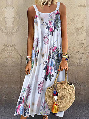 cheap Romantic Lace Dresses-Women's Maxi Loose Dress - Sleeveless Print Strap Blushing Pink Green M L XL XXL XXXL XXXXL XXXXXL