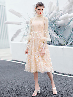 cheap Mother of the Bride Dresses-A-Line Elegant Flirty Graduation Prom Dress High Neck Long Sleeve Tea Length Lace Tulle with Pleats Appliques 2020