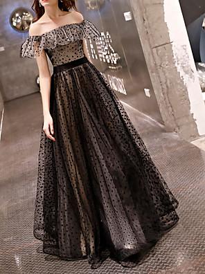 cheap Prom Dresses-A-Line Elegant Black Prom Formal Evening Dress Off Shoulder Short Sleeve Floor Length Polyester with Pattern / Print 2020