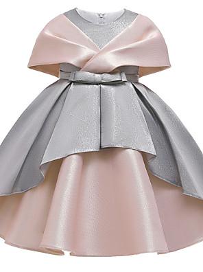 cheap Girls' Dresses-Kids Girls' Active Sweet Patchwork Criss Cross Sleeveless Knee-length Dress Dusty Rose