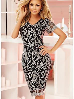cheap Women's Dresses-Women's Bodycon Dress - Short Sleeves Print Lace Embroidery Black S M L XL