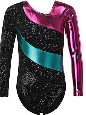 cheap Gymnastics-21Grams Gymnastics Leotards Girls' Leotard Spandex High Elasticity Breathable Sparkly Long Sleeve Training Ballet Dance Gymnastics Black