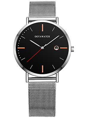 cheap Dress Classic Watches-Men's Dress Watch Quartz Stylish Titanium Alloy Silver 30 m Calendar / date / day Casual Watch Analog Casual Fashion - Black White Blue One Year Battery Life