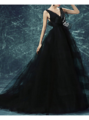 cheap Wedding Dresses-A-Line Wedding Dresses V Neck Sweep / Brush Train Chiffon Tulle Sleeveless Formal Plus Size Black with Draping Lace Insert 2020