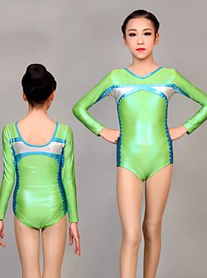cheap Gymnastics-Rhythmic Gymnastics Leotards Artistic Gymnastics Leotards Women's Girls' Leotard Green Spandex High Elasticity Handmade Jeweled Diamond Look Long Sleeve Competition Dance Rhythmic Gymnastics Artistic