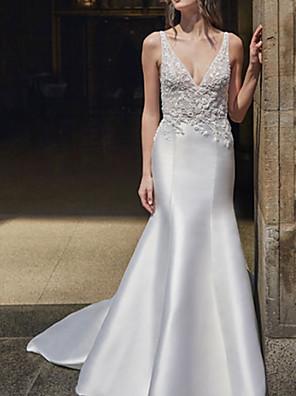 cheap Wedding Dresses-Mermaid / Trumpet Wedding Dresses V Neck Sweep / Brush Train Lace Satin Regular Straps Formal Plus Size with Draping 2020