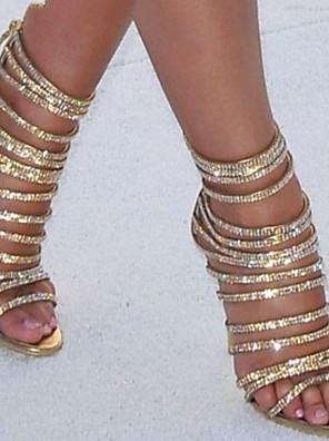 cheap Evening Dresses-Women's Sandals Glitter Crystal Sequined Jeweled Stiletto Heel Round Toe PU Summer Gold