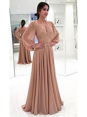 cheap Evening Dresses-Women's Maxi Swing Dress - Long Sleeve Solid Colored Lace Spring & Summer Deep V Elegant 2020 Blushing Pink Khaki Green Beige Light Blue S M L XL XXL XXXL XXXXL XXXXXL