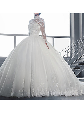 cheap Prom Dresses-A-Line Wedding Dresses High Neck Sweep / Brush Train Tulle Lace Over Satin Long Sleeve Vintage See-Through Illusion Sleeve with Beading Appliques 2020