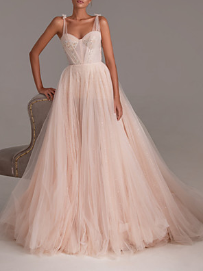 cheap Prom Dresses-A-Line Sexy Engagement Formal Evening Dress Sweetheart Neckline Sleeveless Court Train Tulle with Pleats Appliques 2020
