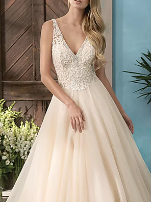 cheap Wedding Dresses-A-Line Wedding Dresses V Neck Sweep / Brush Train Lace Tulle Sleeveless Casual Plus Size with Beading 2020