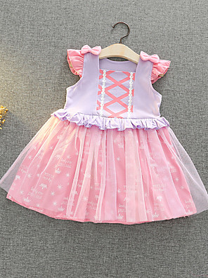 cheap Girls' Dresses-Kids Girls' Active Sweet Cartoon Bow Mesh Sleeveless Knee-length Dress Blushing Pink