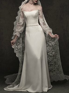 cheap Wedding Wraps-A-Line Wedding Dresses Off Shoulder Sweep / Brush Train Lace Satin Long Sleeve Simple Elegant with Lace Lace Insert 2020 / Illusion Sleeve