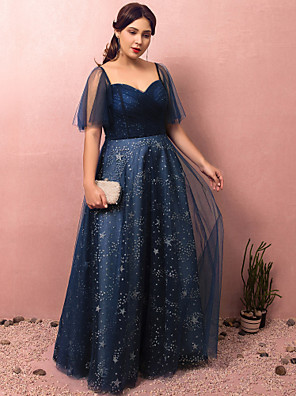 cheap Prom Dresses-A-Line Sparkle Blue Prom Formal Evening Dress Sweetheart Neckline Half Sleeve Floor Length Lace Satin Tulle with Ruched Sequin 2020 / Illusion Sleeve