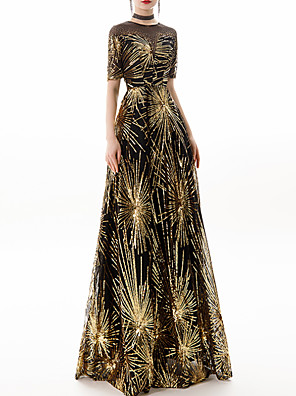 cheap Evening Dresses-A-Line Sparkle Gold Party Wear Prom Dress Jewel Neck Half Sleeve Floor Length Polyester with Sequin 2020