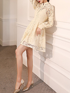 cheap Special Occasion Dresses-A-Line Vintage White Graduation Cocktail Party Dress High Neck Long Sleeve Short / Mini Lace with Buttons 2020