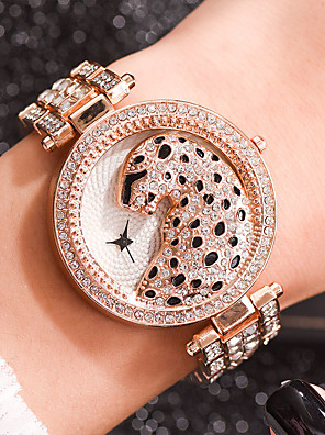 cheap Quartz Watches-Women's Quartz Watches Quartz Stylish Animal Pattern Casual Leopard Silver / Gold / Rose Gold Analog - Rose Gold Gold Silver One Year Battery Life / Imitation Diamond