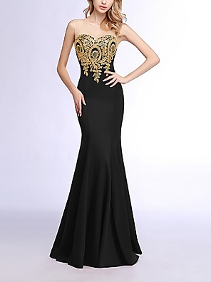 cheap Prom Dresses-Mermaid / Trumpet Red Black Prom Formal Evening Dress Strapless Sleeveless Floor Length Polyester with Sequin Appliques 2020