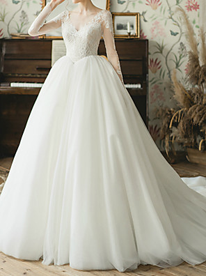 cheap Evening Dresses-Ball Gown Wedding Dresses V Neck Watteau Train Lace Tulle Long Sleeve Simple Elegant Illusion Sleeve with Lace Lace Insert 2020