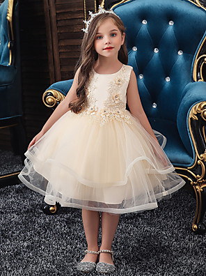 cheap Girls' Dresses-A-Line Knee Length Wedding / Party / Pageant Flower Girl Dresses - Tulle / Matte Satin / Poly&Cotton Blend Sleeveless Jewel Neck with Beading / Solid