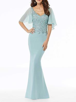 cheap Evening Dresses-Mermaid / Trumpet Elegant Blue Wedding Guest Formal Evening Dress V Neck Short Sleeve Floor Length Chiffon with Appliques 2020
