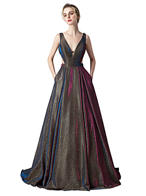 cheap Wedding Dresses-Ball Gown Sparkle Purple Prom Formal Evening Dress V Neck Sleeveless Sweep / Brush Train Spandex with Pleats 2020