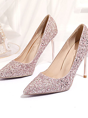 cheap Evening Dresses-Women's Heels Crystal Sandals Stiletto Heel Pointed Toe Sequin Synthetics Sweet Walking Shoes Spring &  Fall / Spring & Summer Pink / Gold / Silver / Wedding / Party & Evening / Party & Evening