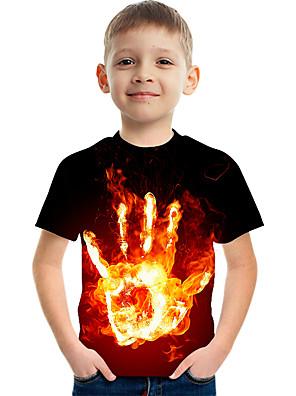 cheap Boys' Clothing-Kids Boys' Basic Street chic Color Block 3D Print Short Sleeve Tee Black