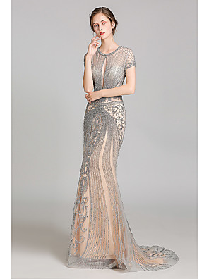 cheap Evening Dresses-Mermaid / Trumpet Luxurious Grey Engagement Formal Evening Dress Jewel Neck Short Sleeve Court Train Tulle with Crystals Beading Sequin 2020