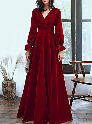 cheap Prom Dresses-A-Line Red Retro Engagement Formal Evening Dress V Neck Long Sleeve Floor Length Velvet with Pleats 2020
