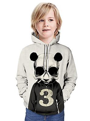 cheap Girls' Dresses-Kids Boys' Active Street chic 3D Patchwork Animal Print Long Sleeve Hoodie & Sweatshirt Black