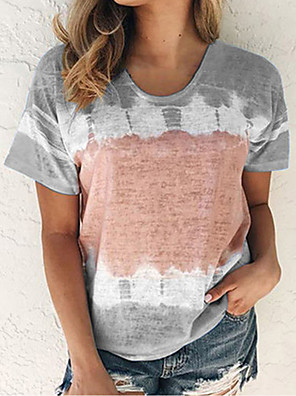 cheap For Young Women-Women's T-shirt Geometric Color Block Tops Crew Neck Wine Blue Purple